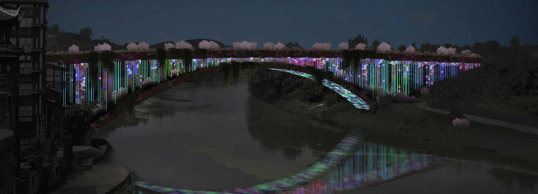 brut deluxe convierte el puente QuanXi en una instalación de luz